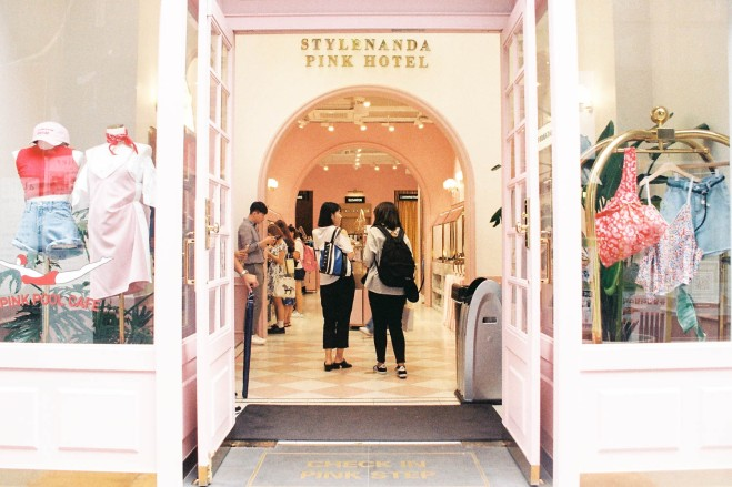 Entrance to Stylenanda pink hotel