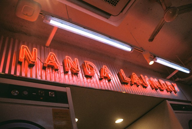 Neon lights at stylenanda pink hotel in myeongdong