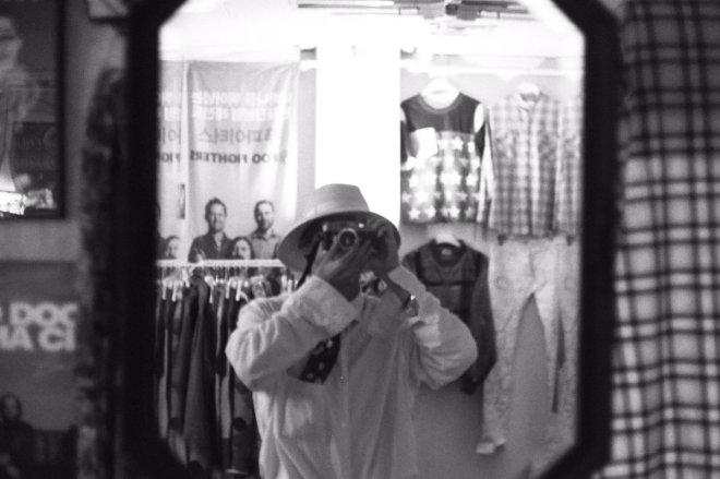 Kim Taehyung photograohed by himself in mirror